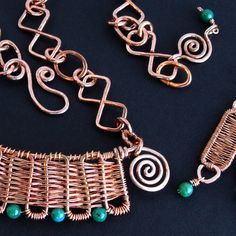 Inca HandWoven Copper and Jade Set by sparkflight on Etsy
