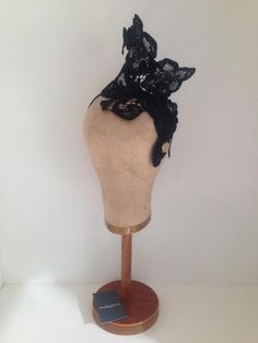 Black Guipure Lace Headpiece by Murley & Co Millinery #HatAcademy #hats #millinery