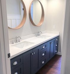 """Cabinet paint color is """"Benjamin Moore Evening Dove"""". Benjamin Moore Evening Dove is a deep blue with a charcoal undertone. Eye for the Pretty. Interiors by Nicole Salceda. Bathroom Renos, Small Bathroom, Master Bathroom, Bathroom Ideas, Blue Bathroom Vanity, Bathroom Wall, Master Baths, Painted Bathroom Vanities, Charcoal Bathroom"""