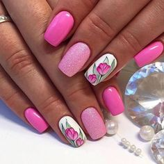Bright summer nails, Cheerful nails, Drawings on nails, flower nail art, Manicure by summer dress Bright Pink Nails, Pink Glitter Nails, Pink Nail Art, Pink Nail Polish, Flower Nail Art, Pink Summer Nails, Diamond Glitter, Pink Manicure, Manicure Ideas