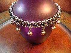 Silver & Black Chainmaille Belly Dancing Bell Anklet