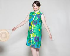 Vintage 1960s Floral Shift Dress  Cotton Eyelet  by AlexSandras
