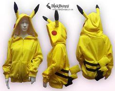 READY TO SHIP - Large Baggy Pikachu pokemon hoodie with detachable tail kawaii cute