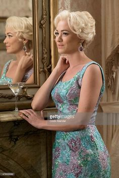 60s era TV show beaded blue floral dress pink evening cocktail formal sheath column gown The Astronaut Wives Club