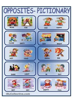 A collection of English ESL Adjectives: Opposites worksheets for home learning, online practice, distance learning and English classes to teach about Learn English Grammar, English Words, English Lessons, English Class, English Language, Opposites Preschool, Preschool Charts, English Prepositions, English Vocabulary