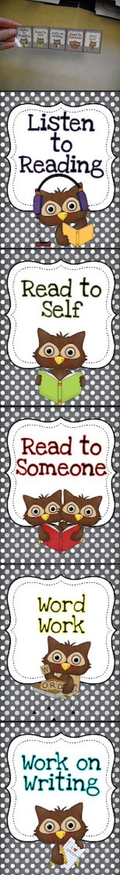 FREE and ready to download. Owl Theme Bookmarks and Posters for Daily 5.  Each student gets a bookmark at the beginning of the year that shows their rotations. No more taking up wall space and moving student names around to change rotations.