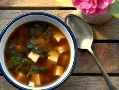 #fodmap friendly recipe for Miso Soup // I cannot get enough of this soup! It's so easy to make and so tasty. I've used frozen kale instead of fresh and noticed that ONE handful is definitely enough in that case, and I recommend 1.5 tbs of miso paste. BN 9/25/15