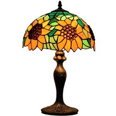 Our vibrant sunflower stained glass table lamp with glass beads. Perfect for the beside or to brighten up the kids' room. Only $42.50. Discover more lighting at goexw.com