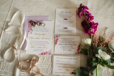 Invitation flatlay - Purple and pink florals for wedding at Oakland Hills Country Club in Bloomfield Hills, Michigan - Leah E. Foil Stamped Wedding Invitations, Letterpress Invitations, Watercolor Wedding Invitations, Elegant Invitations, Custom Invitations, Wedding Stationery, Purple Wedding, Floral Wedding, Summer Wedding