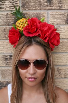 Pineapple Red Rose Flower Crown Headband Miss by LoveCarolineO