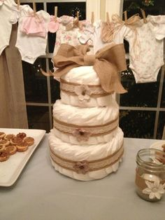 Burlap and lace diaper cake for rustic baby shower So simple and so cute!!!