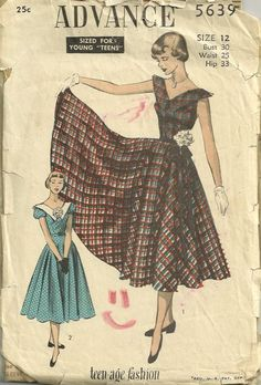 Advance 5639 1950s Teen Flared Dress Pattern with V Front and Back Womens Vintge Sewing Pattern by patterngate.com
