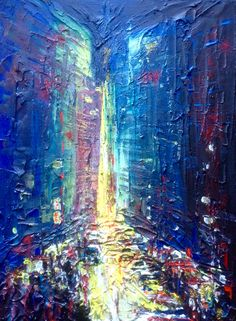 Semi abstract cityscape, acrylic on stretched canvas.