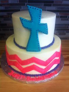 Cross and chevron Birthday Cake