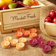 Market Fresh 15-Piece Tealight Sampler Sample all three Farmers' Market-inspired fragrances: Berry Bramble, Harvest Spice and Caramel Pear. Burn time 4-6 hours each.  $7.31/set http://www.partylite.biz/legacy/sites/juliehoyman/productcatalog?page=productdetail&name=Market+Fresh+15-Piece+Tealight+Sampler&sku=P84015&categoryId=55268&showCrumbs=true