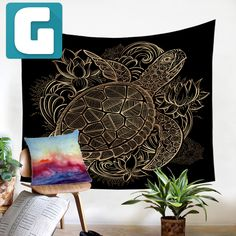 Golden Turtle Tapestry For Kids Nursery Decor Lotus Art, Hanging Flowers, Canvas Poster, Wall Carpet, Tapestry Wall Hanging, Wall Hangings, Carpet Runner, Tortoise, Decorative Accessories