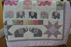 Appliqued Elephant Quilt In Pink and Grey by blueellydesigns, $185.00