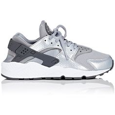 Nike Women's Air Huarache Run Sneakers (€105) ❤ liked on Polyvore featuring shoes, grey, lace up shoes, nike, round cap, metallic shoes and round toe shoes