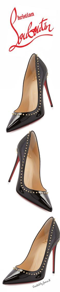 Christian Louboutin | Fall 2015 | Anjalina Spike Patent Red Sole Pump, Black/Golden