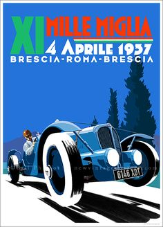 Vintage poster of the 1937 Delahaye Mille MIglia. This original poster was designed and illustrated by Bill Philpot.