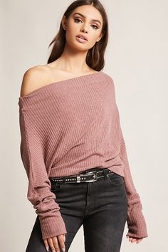 Product Name:Draped Waffle-Knit Top, Category:CLEARANCE_ZERO, Price:35
