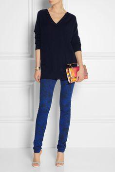 Preen Line|Printed stretch-cotton twill skinny pants|NET-A-PORTER.COM