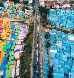 Java owns the most colorful rainbow village you have ever seen! Just a few years ago, an entire slum area in Malang, Indonesia was painted. City Aesthetic, Aesthetic Photo, Aerial Drone, Over The River, Asia Travel, Travel List, Malang, Travel Images, Drone Photography
