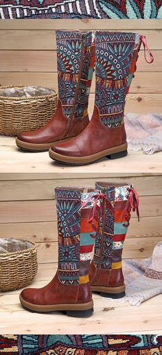 US$68.63 SOCOFY Bohemian Splicing Pattern Flat Leather Knee Boots #KneeHighBoots #WinterBoots #BohoBoots
