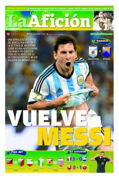 Portada La Afición Monterrey 16/06/14 | VUELVE MESSI