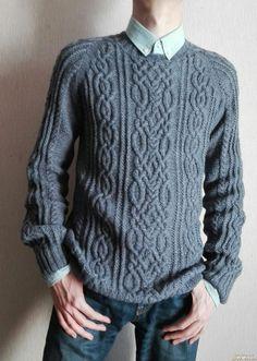 вязание спицами, вязание на заказ, мужской, свитер, красивый, араны, Джемпер, стильный, деловой, серый, чоловічий, светер, на замовлення, в′язання, Спицями, pul