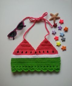 Watermelon Crochet Crop Top / Watermelon Halter Top by MellmadeCrafts on Etsy