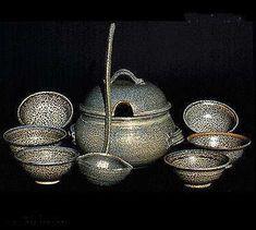 Salt Glaze Soup Tureen, Lid, Ladle & Bowl Set by montefin.com