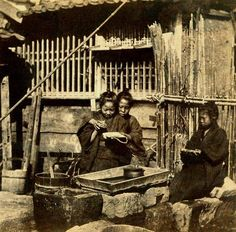 Brother Teaches Brother to Write, While Little Sister Looks On in Old Japan. This very old ca semi-candid photo is taken from a stereoview. Text and image via Okinawa Soba Vintage Pictures, Old Pictures, Old Photos, Rare Photos, Vintage Photographs, Vintage Japanese, Japanese Art, Japanese Pics, Meiji Era