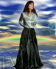 Women in Blouse❤ Silk Satin Dress, Satin Skirt, Satin Dresses, Beautiful Long Dresses, Beautiful Blouses, Pretty Dresses, Floaty Dress, Dress Skirt, Maxi Skirts