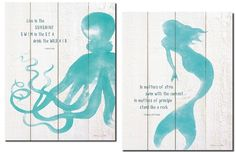 "Amazon.com: Beautiful Inspirational Mermaid and Octopus Set; 2-11x14"" Poster Prints (Printed On Paper, Not Wood): Posters & Prints"