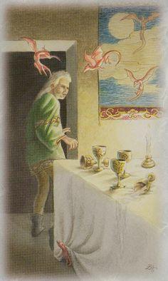 Celtic Dragon Tarot - 5 of Cups