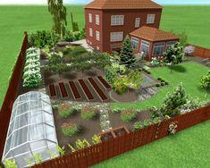Garden Design Layout - New ideas Vegetable Garden Planning, Vegetable Garden Design, House Landscape, Landscape Design, Farm Gardens, Outdoor Gardens, Farm Layout, Garden Care, Cool House Designs