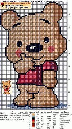 Winnie the Pooh Hama Perler Bead Pattern or Cross Stitch Chart Cross Stitch For Kids, Cross Stitch Baby, Cross Stitch Animals, Cross Stitch Charts, Cross Stitch Designs, Cross Stitch Patterns, Pixel Crochet, Crochet Chart, Crochet Patterns