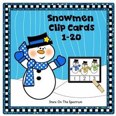 Snowmen Math Clip Cards  for counting and matching sets of 1-20 objects with a fun  theme.  Use for centers, partner work or individual work.