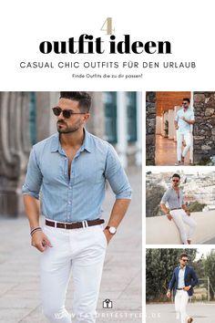 Ein casual chic Männeroutfit für den Sommer und im Urlaub. Ich zeige Dir wie dieses Outfit in vier verschiedenen Stilen kombiniert werden kann, damit Du im Urlaub auch schicke Looks zur Auswahl hast. Erfahre welche 7 Teile Du dafür brauchst.