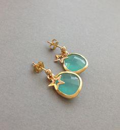 Dainty Faceted Glass Briolette Earrings - Mint Earrings - Gold Geometric Jewelry - Tiny Star in Gold - Dainty Jewelry - Dangle Earrings. $25.00, via Etsy.