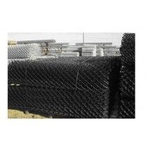 Black PVC coated chain wire mesh, 50mm diamond x 2.5mm diam hot dip galv wire, 1800mm wide x 15m roll, knuckle / barb