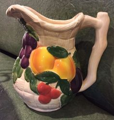 """Vintage Ceramic 8"""" Pitcher Fruits and Wicker Weave Design by Avon Products NY"""