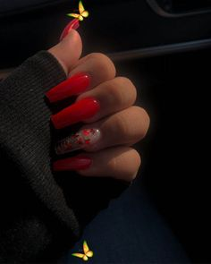 Red , Glittery, Butterflies, Clear nails, Sparkles, Long Red Nails #gelnails #springnails #gelnails #springnails<br> Long Square Acrylic Nails, Acrylic Nail Designs Coffin, Acrylic Nails Coffin Glitter, Purple Acrylic Nails, Red Nail Designs, Clear Nails With Glitter, Autumn Nails Acrylic, Summer Acrylic Nails Designs, Red Sparkle Nails