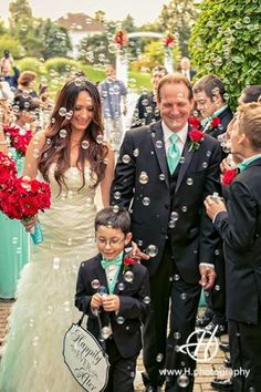 Wedding at White Eagle Golf Club  #soap bubbles at wedding #wedding in summer outdoor wedding ceremony  #photo by Doru Halip  for http://www.h.photography