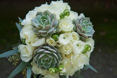 Succulent Bridal Bouquet  www.Bellabloomflorals.com  Photo by: FFphotog.com
