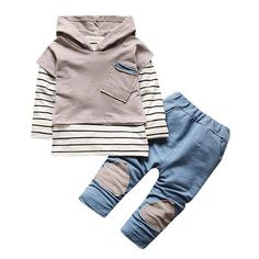 For 0-24 Months Girl,DIGOOD Toddler Baby Boys Hooded Wave Striped Tracksuit Tops+Shorts Pants Outfits