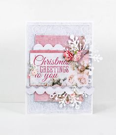card Christmas Greetings To You : Gallery : A Cherry On Top - pink 60 christmas look - flowers berry branches scalloped edges Kaisercraft paper collection Create Christmas Cards, Christmas Card Crafts, Christmas Stickers, Xmas Cards, Christmas Greetings, Handmade Christmas, Holiday Cards, Beautiful Handmade Cards, Christmas Wishes