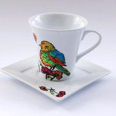 Bird Mug  Personalized Hand Painted Mug. Gift with by atelierChloe