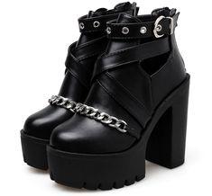 Platform Ankle Boots, Platform High Heels, High Heel Boots, Shoe Boots, High Shoes, Dr Shoes, Punk Shoes, Goth Boots, Gothic Shoes